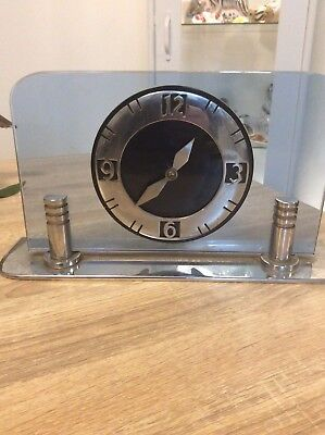 Smiths Made In England Art Deco Blue Glass Mantle Clock Needs Cable