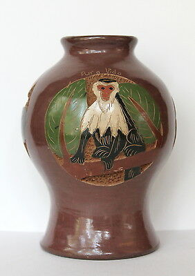 Costa Rica Pura Vida Etched Tropical Monkey Butterfly Turtle Brown Pottery Vase