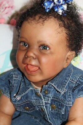 Reborn baby doll sweet ethnic toddler girl Tierra with 3d skin OOAK