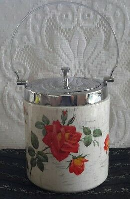 Midwinter Staffordshire Ceramic Biscuit Barrel with Silver Handle & Lid