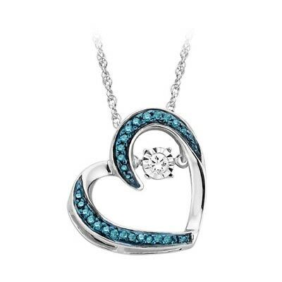 1/10 cttw Sterling Silver Natural Dancing Diamond Heart Pendant