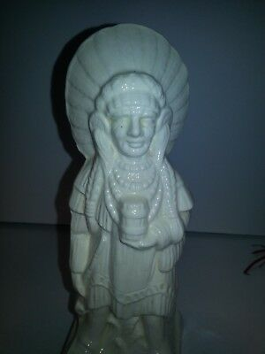 """Vintage/Antique  frankoma? Porcelain/Ceramic Indian Chief Statue tribal 7"""" tall"""