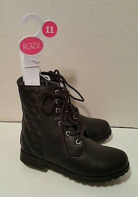 Nwt The Children's Place Girls Lace Up Black Boots Size 11 $30