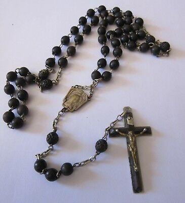 Large Antique French Rosary 59 Wood Pearl Beads/Holy Mary Cross Medal 25 inches