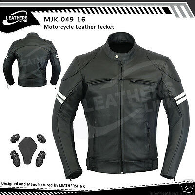 Mens Rider Stylish Motorcycle Leather Racing Jacket MJK-049(US 38,40,42)