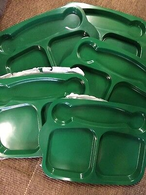 5 Green Primary Meal Tray Server Melamine Camp Bbq Outdoor Summer Canteen