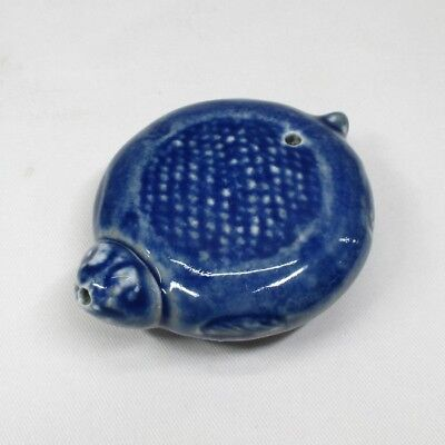 H073: Chinese azure porcelain water pot SUITEKI of tortoise statue