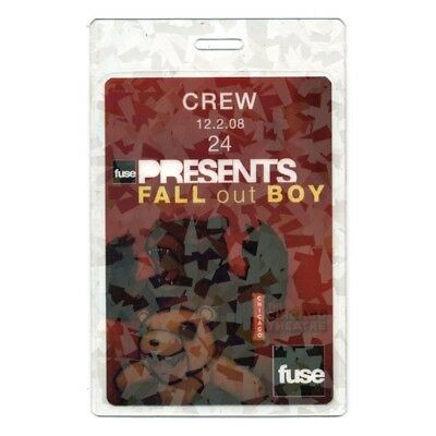 Fall Out Boy authentic 2008 Laminated Backstage Pass Fuse Show Chicago Theatre