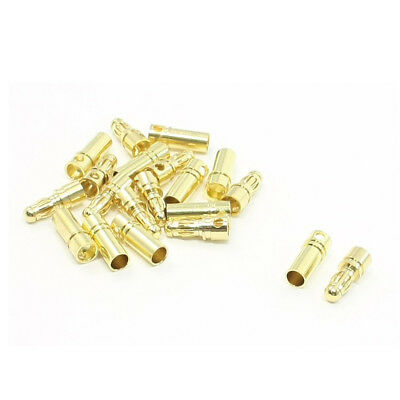 10 Pairs Gold Tone Metal Banana Bullet Plug Male Female Connector 3.5mm PF L6H8