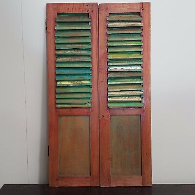 Original Antique Vintage Timber Hand Carved Bali Window Shutters Louvre Pair 53D