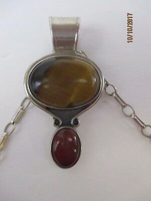 """Mexico Sterling Pendant Necklace - Tigereye And Stone  24"""" Chain"""
