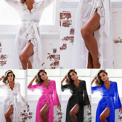 Women's Lace Sexy Lingerie Nightwear Lady Sleepwear Robes Wrap Dress Plus Size