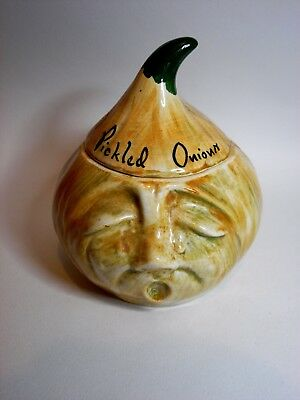 Vintage /Retro Hand Painted Ceramic Pickled Onion Container by Toni Raymond