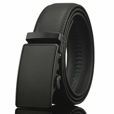 Fashion Casual Solid Black Leather Automatic Buckle Mens Belt Waistband Strap