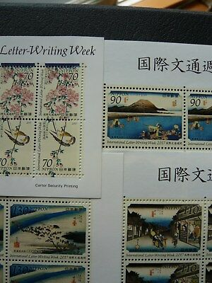 Japan Stamp - International Letter Writing Week 2017 Ukiyo-e Birds - MNH OG VF