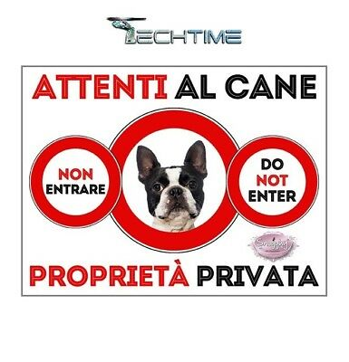 Cartello Boston Terrier Attenti Al Cane In Ferro Zincato Con Calamite
