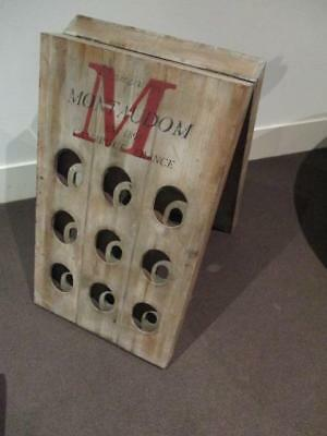Rustic French 'a' Board Style Wine Bottle Rack Holds 18 Bottles Champagne