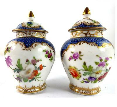 Pair Sml Antique German Dresden  Vases & Covers Blue Diaper Ground Floral Sprays