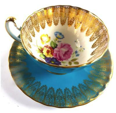 AYNSLEY PORCELAIN CUP AND SAUCER BLUE FLUTED FLOWERS GILT LACE a