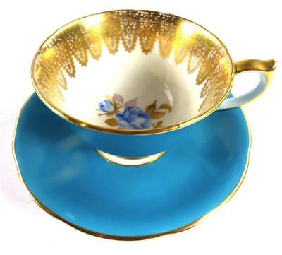 AYNSLEY PORCELAIN CUP AND SAUCER BLUE FLOWERS GILT LACE d