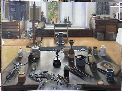 1970s IMPRESSIONIST OIL PAINTING OF ARTIST STUDIO - KEN HOWARD INTEREST >??