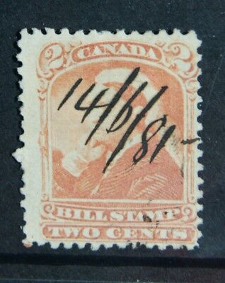 1868 QUEEN VICTORIA Bill Stamp of CANADA 2 cent used 1881 - see back of stamp
