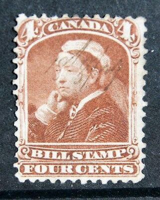 FU 1868 QUEEN VICTORIA Bill Stamp of CANADA 4 cent - see back of stamp