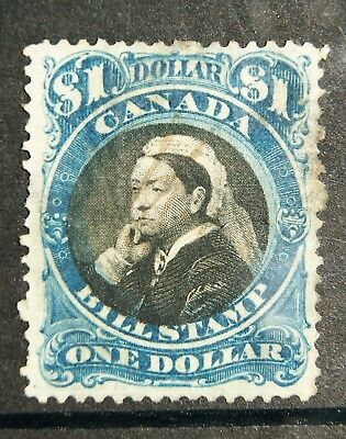 1868 QUEEN VICTORIA Bill Stamp of CANADA $1 - see back of stamp too