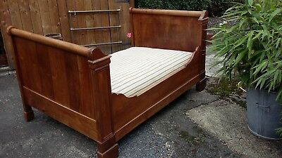 Antique French Bateau Bed / Sleigh Bed Complete With Mattress Base