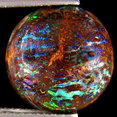 5.68Ct UNIQUE RAREST ! 3D PINFIRE METALLIC PINK BLUE GREEN KOROIT BOULDER OPAL