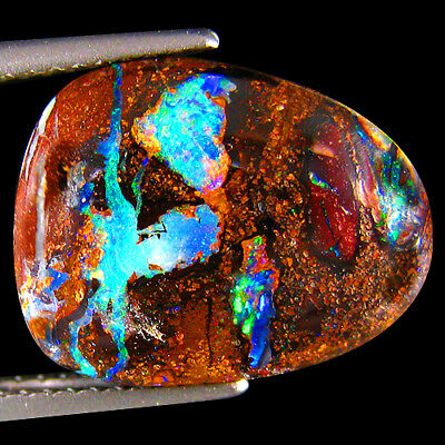 7.27Ct UNIQUE RAREST 3D METALLIC BLUE GREEN FLASHY NATURAL KOROIT BOULDER OPAL