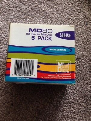 HHB MD80 5 Pack Professional Minidisc 80 Minute BN Sealed Discs