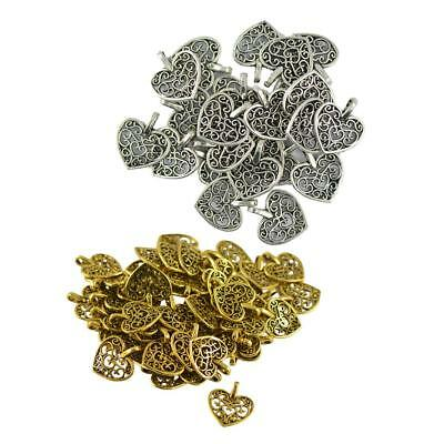 100PCS Charm Pendant Heart Tibetan Metal Beads Jewelry Making DIY Bracelet