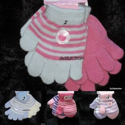 2 Pairs Baby Girl Toddler Magic Stretch Gloves & Mittens-One Size-Very Cute -New