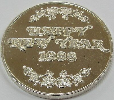 1988 Happy New Year 1 oz .999 Fine Silver Art Round