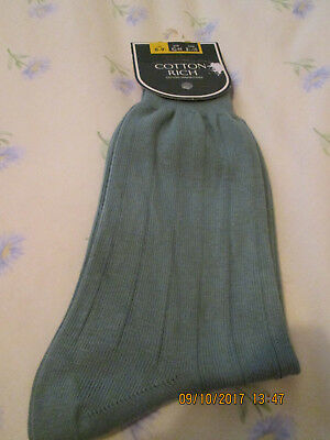 Vintage St. Michael Mens Cotton Rich Sage Green Socks Size 8-9 1/2  NOS
