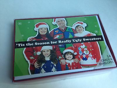 Christmas Holiday Boxed Cards, 14-Cards, Funny Ugly Sweater Design RARE!