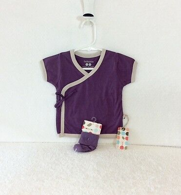 Sale! New, All Natural, 3 New BabySoy Purple/Grey Kimono Tee and Sock Sets