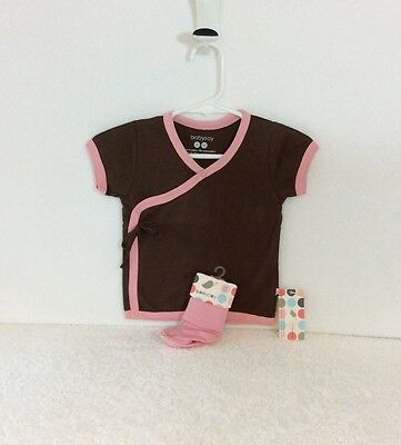 Sale! 5 New All Natural BabySoy Brown and Pink Girl Kimono Tee and Sock Sets