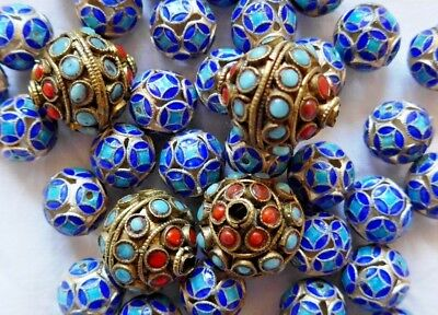 Vintage SILVER toned beads PIERCED BLUE ENAMEL( 36 ) large CORAL/TURQUOISE( 4 )