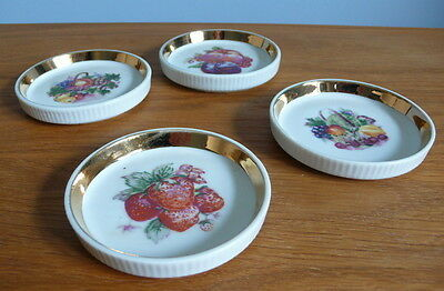 4 vintage retro shallow dishes / coasters with fruit design + box
