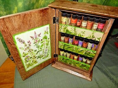 Herbs & Plants WICCA Altar Set Wooden Witch Cabinet 24 Jars Book W Uses for all