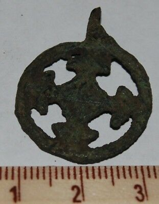 "Ancient bronze viking pendant ""Cross in circle"", IX-XIII AD (m66)"