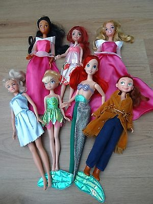 Disney Princess Barbie Doll Bundle X7 Aladdin Jasmine Ariel Jessie Cinderella