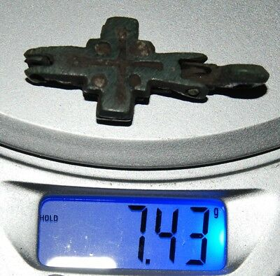 Ancient Byzantine bronze pendant Cross, Encolpion X-XII AD (m44)