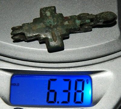 Ancient Byzantine bronze pendant Cross, Encolpion X-XII AD (m46)
