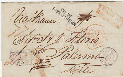 UK (GREAT BRITAIN)  1839 letter from LIVERPOOL VIA DI P.BEAUVOISIN to SICILY