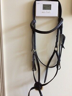 Dyon Dy'on figure 8 mexican jumping bridle, dark brown, with BIT CLIPS,size FULL