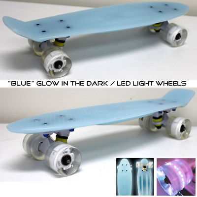Cruiser Skateboard Graphic Floral Board Complete Retro Penny Style Light Blue B