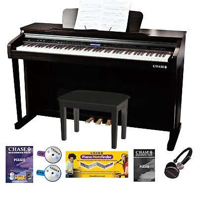 Chase CDP-423 Digital Piano 88 Fully Weighted Keys Upright Cabinet Black Finish